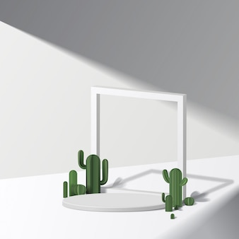Cylinder white podium  in white background with cactus. product presentation,  scene to show cosmetic product, podium, stage pedestal or platform.