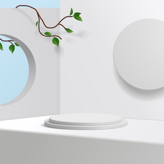 Cylinder white podium  in white background with leaves. product presentation,  scene to show cosmetic product, podium, stage pedestal or platform. simple clean