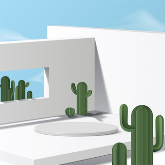 Cylinder white podium  with sky background and cactus. product presentation,  scene to show cosmetic product, podium, stage pedestal or platform. simple clean
