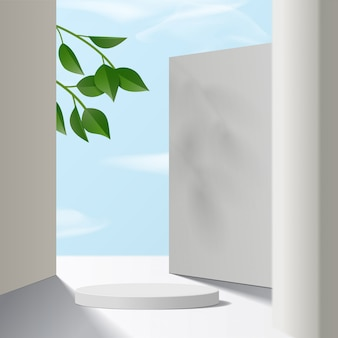 Cylinder white podium  with sky background and paper leaves. product presentation,  scene to show cosmetic product, podium, stage pedestal or platform. simple clean