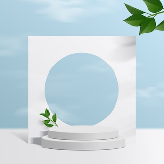 Cylinder white podium  with sky background and paper leaves. product presentation,  scene to show cosmetic product, podium, stage pedestal or platform. simple clean .