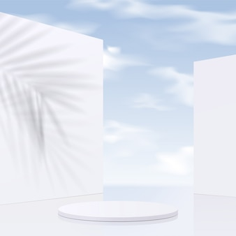 Cylinder white podium  with sky background and shadow leaves. product presentation,  scene to show cosmetic product, podium, stage pedestal or platform. simple clean ,