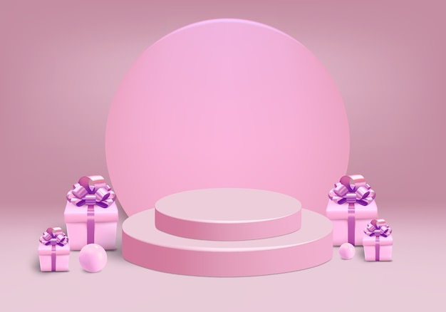 Cylinder with gift box and scene on the pink background
