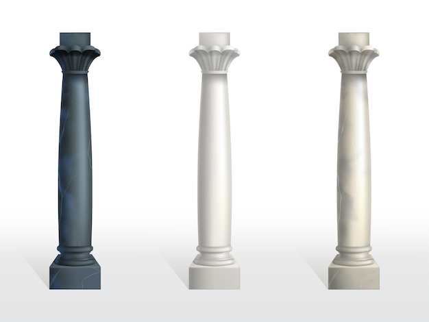 Cylindrical columns of black, white and beige marble stone