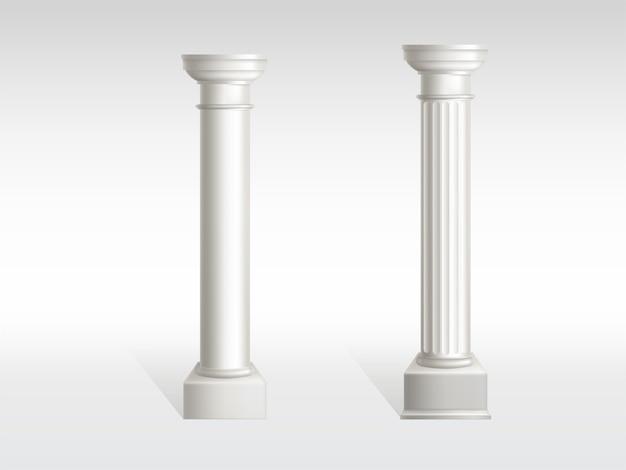매끄럽고 질감이있는 기둥 표면이있는 흰색 대리석의 원통형 기둥
