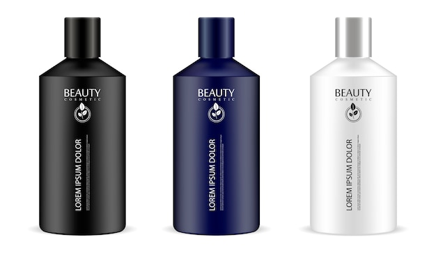 Cylindrical cosmetic bottles in one set