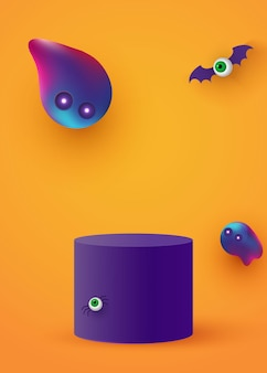 A cylindrical podium or plinth on a minimum stage area. mockup studio for product presentation, branding design. halloween background. vector illustration.