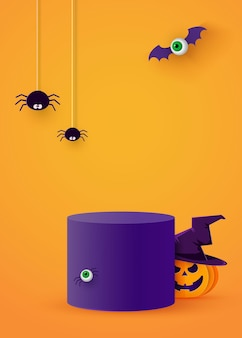 A cylindrical podium or plinth on a minimum stage area. mockup studio for product presentation, branding design. halloween background. vector