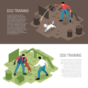 Cynologist dog training isometric horizontal banners with park playground specific tasks learning activities ddescription vector illustration