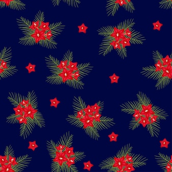 Cypress vine flower on christmas blue background