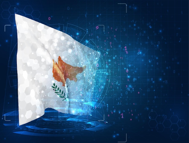 Cyprus, 3d flag on blue background with hud interfaces