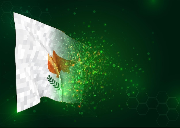 Cyprus, 3d flag on green background with polygons