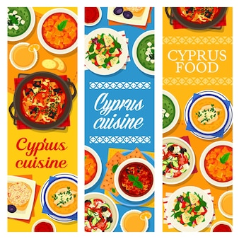 Cyprus cuisine grapefruit salad with goat cheese, pilaf and lemon chicken soup avgolemono. baked eggplant, greek and bean salad, marinated vegetables, cucumber cream soup with feta cypriot food