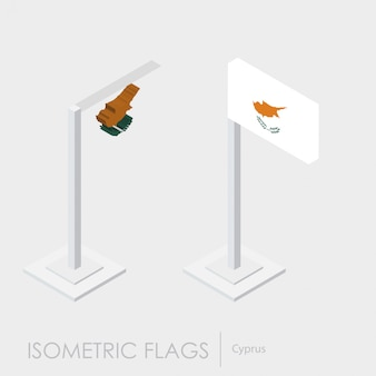 Cyprus flag 3d isometric style
