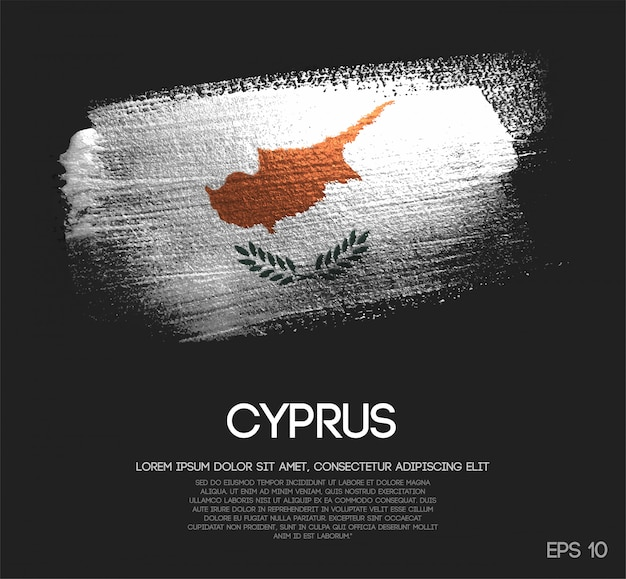 Cyprus flag made of glitter sparkle brush paint
