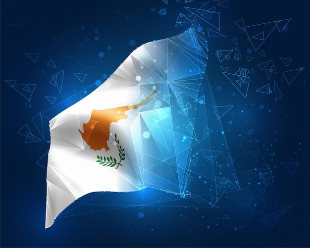 Cyprus, flag, virtual abstract 3d object from triangular polygons on a blue background