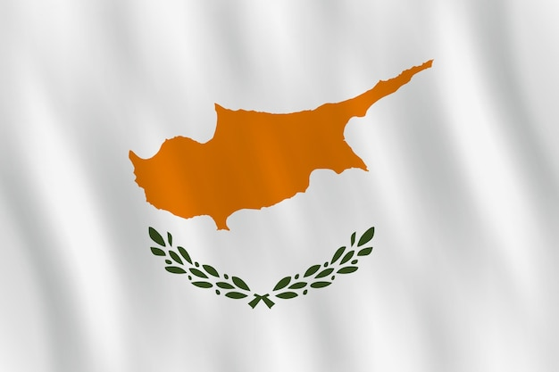 Cyprus flag with waving effect, official proportion.