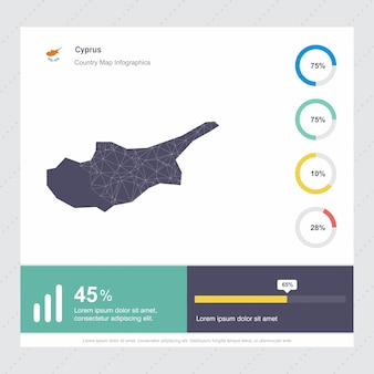 Cyprus map & flag infographics template