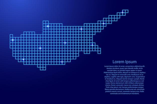 青いモザイク構造の正方形と輝く星からのキプロスの地図のシルエット。ベクトルイラスト。
