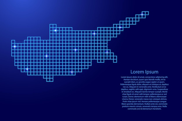 Cyprus map silhouette from blue mosaic structure squares and glowing stars. vector illustration.