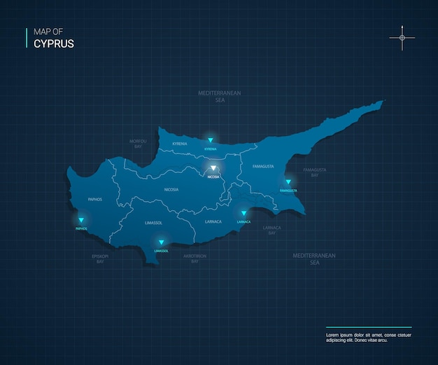 Cyprus map with blue neon light points