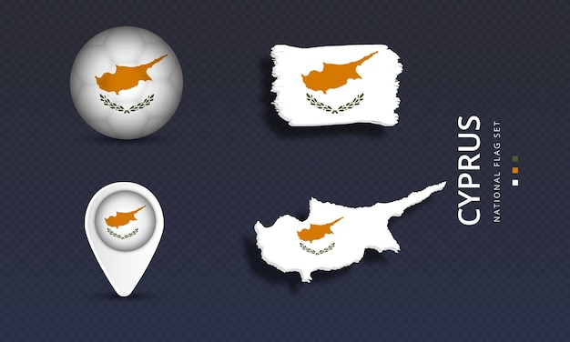 Cyprus national country wave flag set Premium Vector
