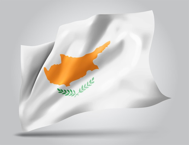 Cyprus, vector flag with waves and bends waving in the wind on a white background.