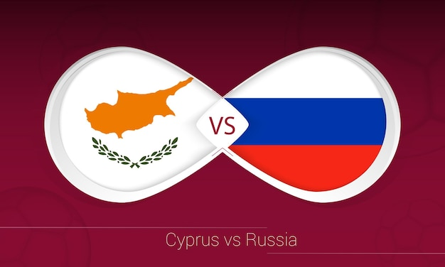 Cyprus vs russia in football competition, group h. versus icon on football background.