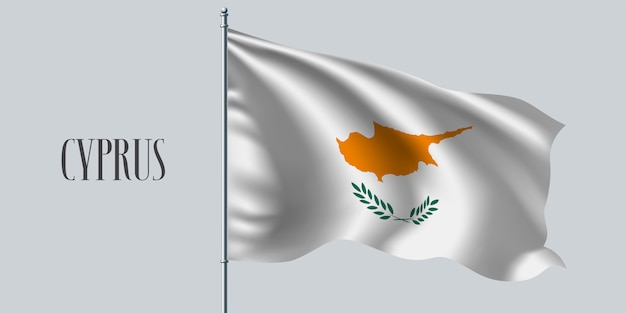 Cyprus waving flag on flagpole