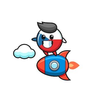 Czech flag badge mascot character riding a rocket , cute style design for t shirt, sticker, logo element