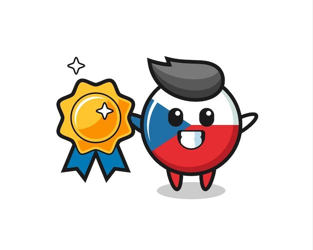 황금 배지를 들고 있는 체코 국기 배지 마스코트 그림, 티셔츠, 스티커, 로고 요소를 위한 귀여운 스타일 디자인