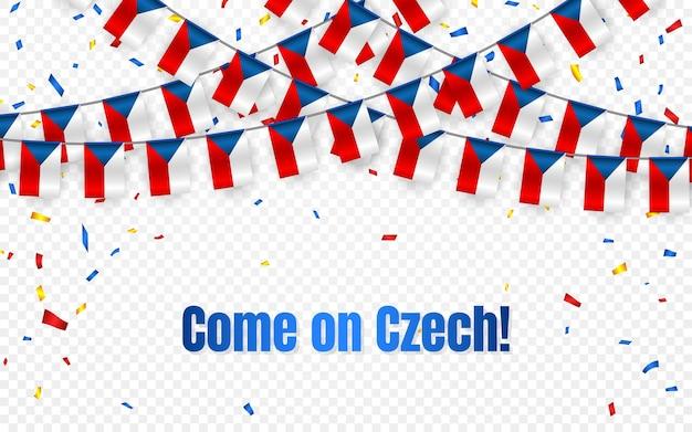 Чешский флаг гирлянды с конфетти на прозрачном фоне, повесить овсянку для баннера шаблона празднования,