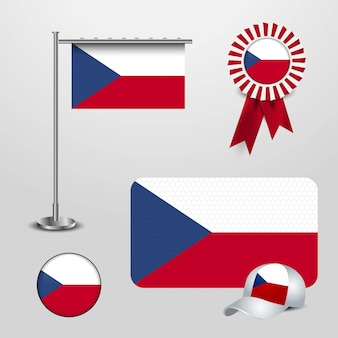 Czech republic country flag haning on pole, ribbon badge banner, sports hat and round button