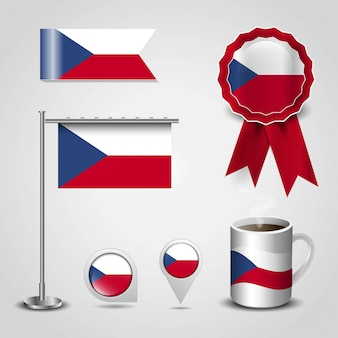 Czech republic country flag place on map pin, steel pole and ribbon badge banner