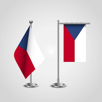 Czech republic country flag on pole