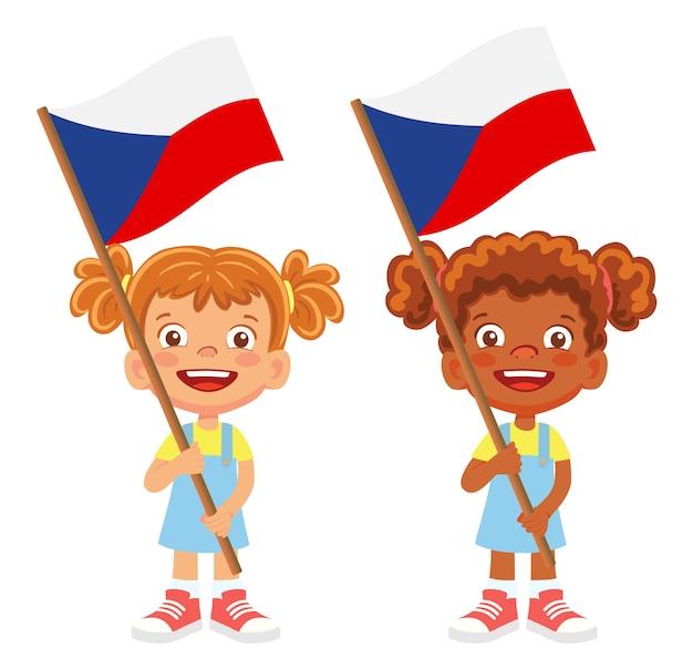 Флаг чехии в руке. дети держат флаг. государственный флаг чешской республики вектор