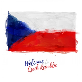 Республика чехия. флаг чехии с украшением национального цвета. стиль акварельного рисунка.