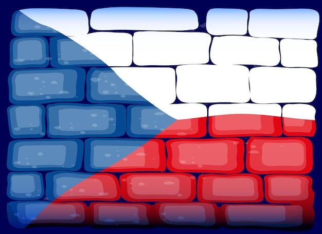 れんが造りの壁にチェコ共和国の旗