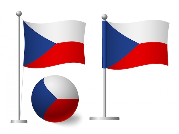 Флаг чехии на значок полюса и мяча