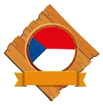 木の板にチェコ共和国の旗