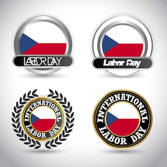 Czech republic flag with labour day design vector
