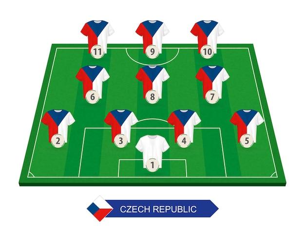 유럽 축구 대회를위한 축구장에 체코 축구 팀 라인업