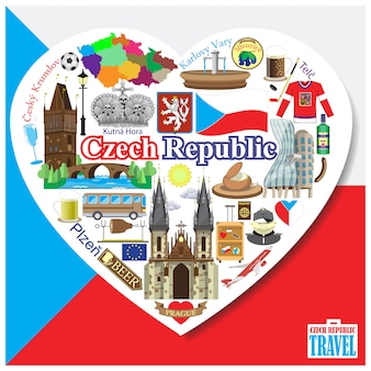 Czech republic love.icons and symbols set in form of heart