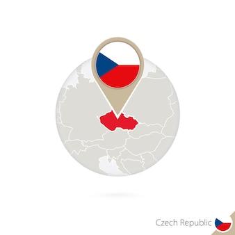 チェコ共和国の地図と円の旗。チェコ共和国の地図、チェコ共和国の旗の待ち針。地球のスタイルでチェコ共和国の地図。ベクトルイラスト。