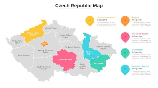 チェコ共和国の地図は、部分または行政単位に分割されています。地域の境界がある国の領土区分。モダンなインフォグラフィックデザインテンプレート。観光ガイドのフラットベクトルイラスト。