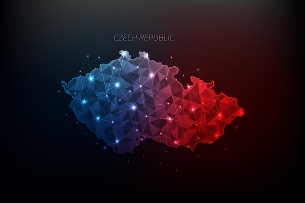 Czech republic map polygonal with glowing lights and line