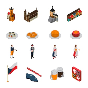 Czech republic symbols isometric icons collection