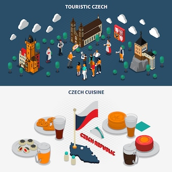 Czech republic touristic isometric elements