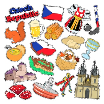 Czech republic travel elements with architecture and traditional food. vector doodle