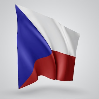 Czech republic, vector flag with waves and bends waving in the wind on a white background.